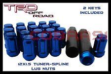 24 Blue 6 Spline Lug Nuts 12x1.5 +2 Keys Toyota Tacoma Tundra FJ Cruiser 4Runner