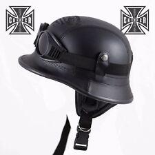 L Harley WWII German Style Motorcycle Half Helmet Skull Cap Chopper Novelty