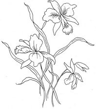 Vintage Visage iron on embroidery transfer-Victoriana series- orchid flowers