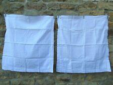 French a pair white linen antique vintage euro sham pillowcases no monogram