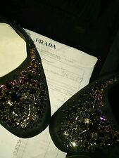 WOMENS PRADA BLACK SATIN BEJEWELED ANKLE BUCKLE PUMPS SIZE 40 $500