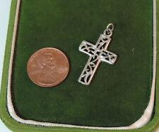 Vintage Open Filigree Silver tone Cross Religious Pendant  Jesus God 3d 10