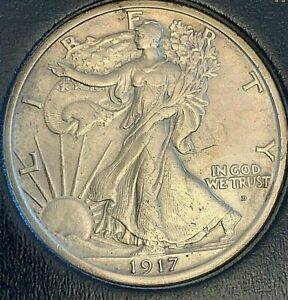 1917 D  Obverse Walking Liberty silver half dollar, Uncirculated