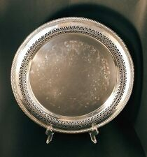 """Vintage Wm Rogers #170 Silverplate 12 1/4""""Round Serving Tray with Decorative Pi"""