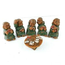 Vintage Wachskunst-Huhnlein Monks Friars Figures Playing Cards Poker 6 Pc Set