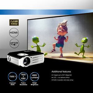 AU 1080P FULL HD Native Home Theater LED 4K Max 4000 Lumens HDMI Video Projector