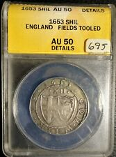 Great Britain 1653 Commonwealth Silver Shilling ANACS AU 50 Details