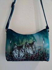 Anuschka Hand Painted Leather Shoulder Bag, Hidden Front Pockets, Western Wolf