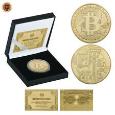 WR Gold Bitcoin Coin Commemorative Collectors Physical BTC Coin In Gift Box