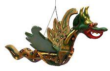 GLÜCKSDRACHEN Holz Drache Holzdrachen Drachenfigur Asia Drachen grün Asiadrachen
