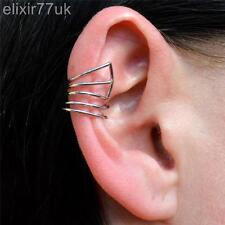 NUOVA ARGENTO HOT WIRE dell' orecchio POLSINO Elica Cartilagine Clip Orecchino Punk Gotico Emo FAB