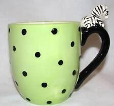New-3D Zebra Handle Handcrafted In Thailand Polka Dot Black, Kiwi Green Mug