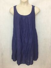 EILEEN FISHER WOMAN BLUE SLEEVELESS COTTON SHIFT DRESS LINED IN SILK - SIZE 2X