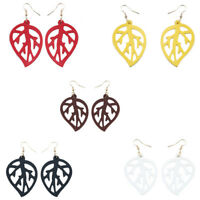 Handmade Hollow Multicolor Leaf Leather Earrings Fashion Woman Party Jewelry