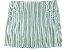 Tommy Hilfiger Womens Size 6 Gray White Blue Striped Anchor Buttons Zipper Skirt