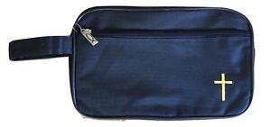 Black Storage Make Up Carry Bag with Gold Christian Jesus Cross for men or women