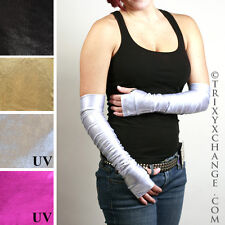 Shiny Arm Warmers Silver Long Gloves Elbow Length Oil Slick Cybergoth Club 1005