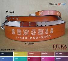 Custom Dog Collars for Pitbulls -  Personalized  Leather Collars and Leashes xxl