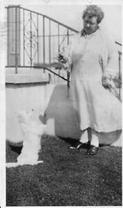 Found PHOTOGRAPH bw DOG WOMAN Original Snapshot Lady VINTAGE 011 15 X
