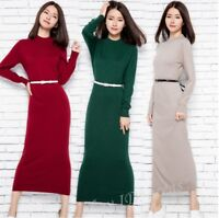 Womens Wool Blend Slim Fit Long Knitted Dress Turtleneck Pullover Maxi Sweaters