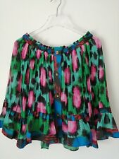 H&m Kenzo Green pink animal Print Off The Shoulder Pleat Blouse UK Size 8 EUR 34