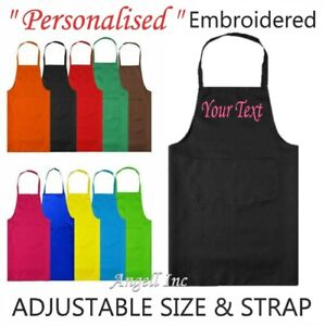 Personalised Custom Embroidered Apron with POCKET BBQ Chef Cooking Baking GIFT