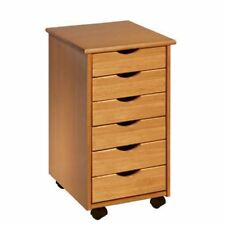 Craft Storage Cart Cabinet Furniture Sewing 6 Drawers Rolling Wood End Table