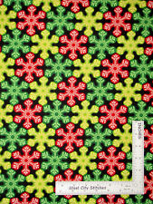Christmas Snowflakes Red Green Yellow Cotton Fabric Benartex 4846 Lights - Yard