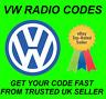 VOLKSWAGEN VW RADIO CODE Beta,Gamma,RCD 200 210 215 300 310 510 Anti Theft Code