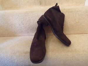 LADIES BROWN SUEDE ANKLE BOOTS ECCO SIZE 38 WORN LIGHTLY