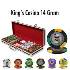 New 500 Kings Casino 14g Clay Poker Chips Set Black Aluminum Case - Pick Chips!