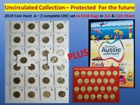 Ausie Coin Hunt 26 x $1 A-Z unc coins PROTECTED in self adhes 2x2 +CARD + FOLDER