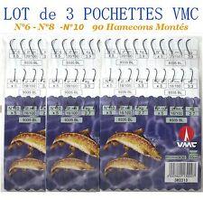 hamecons, hamecons montés, tous poissons, lot x 90, 3 pochettes, mer, rivière