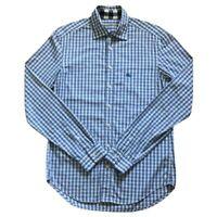 Burberry Brit Mens 100% Cotton Button Up Shirt Blue White Plaid Long Sleeve M