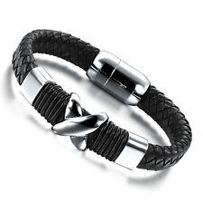 Mens X Black Genuine Leather Wristband Bracelet Stainless Steel Surfer
