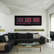 LED Wanduhr Digital Uhr mit Datum & Temperatur Wohnzimmer Büro 12/24 Stunden Rot
