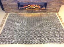 Dark Grey Geometric Handmade Recycled Cotton Jute Reversible IN OUTDOOR Area Rug