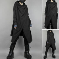 Mens Gothic Punk Coat Jacket Black Cape Cloak Hooded Cardigan Long Shirt Outwear