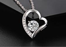 Halskette Herz Collier mit SWAROVSKI KRISTALLEN Zirkon Echt 925 Sterling Silber