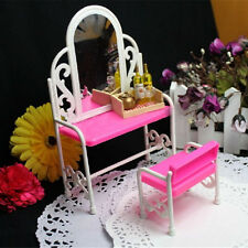 Pink Dressing Table & Chair Accessories Set For Barbies Dolls Bedroom Furniture