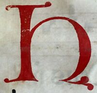 1350 HUGE ORIGINAL handwritten medieval VELLUM manuscript 3 Very Large Initials