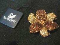 Swarovski Swan Signed Amber Topaz Crystal Flower Brooch Rare w/ Box Tag NEW 837