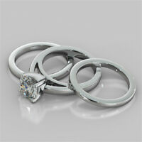 2.00 Ct Round Solitaire Diamond Wedding Trio Band Sets 14K Solid White Gold