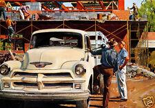 1954 Chevrolet Truck, Construction Site, Refrigerator Magnet,40 MIL