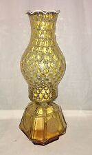 """Fostoria COIN FROSTED * AMBER* 13 1/2"""" COACH OIL LAMP*"""