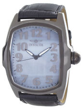 Invicta Lupah Mens Sky Blue Pearl Dial Black Leather Strap Quartz Watch 16056