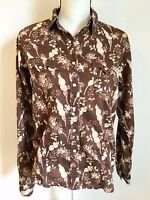 Cruel Girl Womens Large Brown Western Shirt Cowgirl Rockabilly Pearl Snaps Top