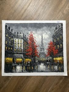 Paris Street Eiffel Tower Scene Modern Art 20X24 Oil Painting By Hand On Canvas.