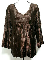 Toffee Apple Womens 2XL Blouse Brown Crinkle Stretchy Long Sleeves Shimmery