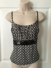 Cato Size Large Black White Spaghetti Strap Tank Top Blouse Empire Waist Sequins